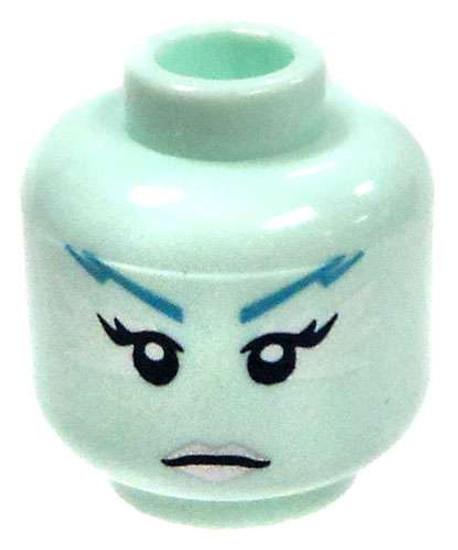 Light Aqua Female with Silver Lips Minifigure Head [Loose]
