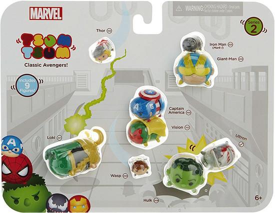 Marvel Tsum Tsum Series 2 Thor, Iron Man, Giant-Man, Cap America, Loki, Ultron, Wasp, Vision & Hulk 1-Inch Minifigure 9-Pack