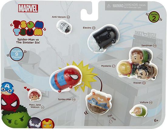 Marvel Tsum Tsum Series 2 Anti-Venom, Electro, Mysterio, Sandman, Kraven, Vulture, Doc Ock, Spider-Man & Mary Jane Watson 1-Inch Minifigure 9-Pack