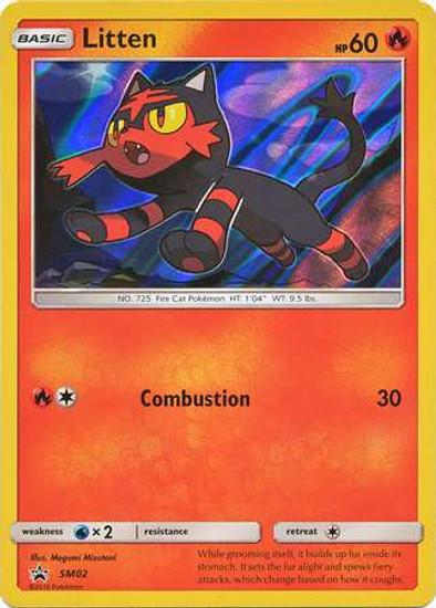Pokemon Sun & Moon Promo Rare Holo Litten SM02