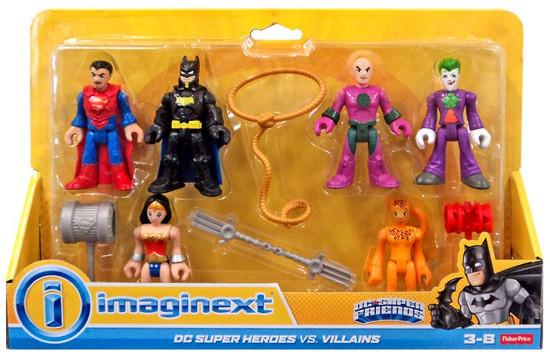 Fisher Price DC Super Friends Imaginext Super Heroes vs. Villains Batman, Lex Luthor, Wonder Woman,Superman, Cheetah & Joker Exclusive 3-Inch Mini Figure 6-Pack