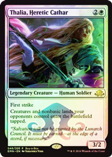 MtG Eldritch Moon Promo Thalia, Heretic Cathar [Buy-a-Box Promo]