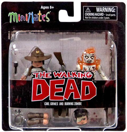 The Walking Dead Minimates Series 6 Carl Grimes & Burning Zombie Minifigure 2-Pack