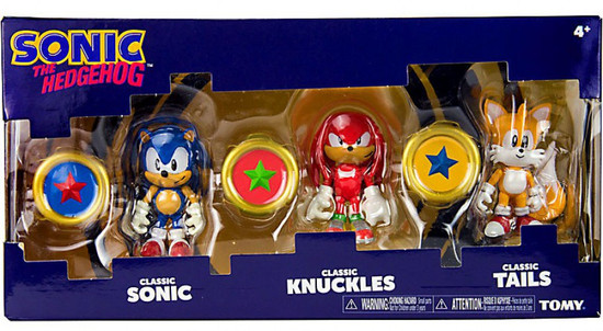Sonic The Hedgehog Sonic Boom Classic Sonic, Classic Knuckles & Classic Tails Action Figure 3-Pack [3 Rings]