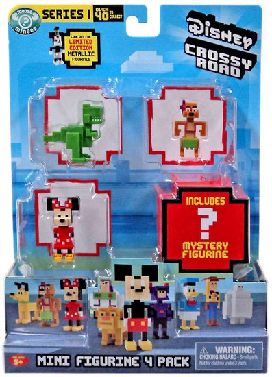 Crossy Road Disney Series 1 Rex, Timon, Minnie & Mystery Figure Mini Figure 4-Pack