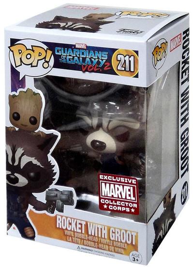 Funko POP! Marvel Rocket Raccoon with Baby Groot Exclusive Vinyl Bobble Head #211 [Guardians of the Galaxy Vol. 2]