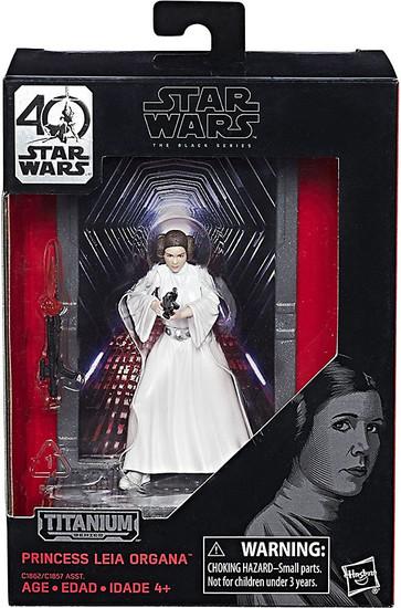Disney Star Wars A New Hope 40th Anniversary Black Titanium Series 1 Princess Leia Die Cast Action Figure
