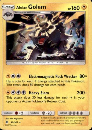 Pokemon Sun & Moon Guardians Rising Rare Holo Alolan Golem #42