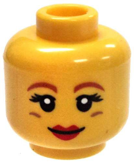 Yellow Female with Red lipstick, Orange Eyebrows, and Dimpels Minifigure Head [Loose]