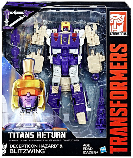 Transformers Generations Titans Return Blitzwing & Decepticon Hazard Voyager Action Figure