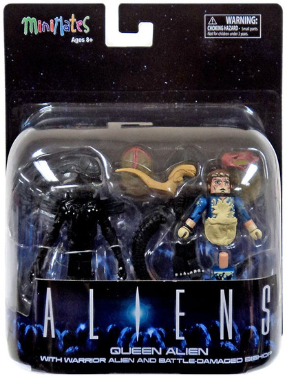 Aliens Minimates Queen Alien 2-Inch Minifigure Deluxe Set [with Warrior Alien & Battle-Damaged Bishop]
