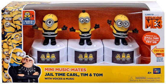 Despicable Me 3 Mini Music-Mates Jail Time Carl, Tim & Tom 3-Inch Figure 3-Pack [with Voices & Music]