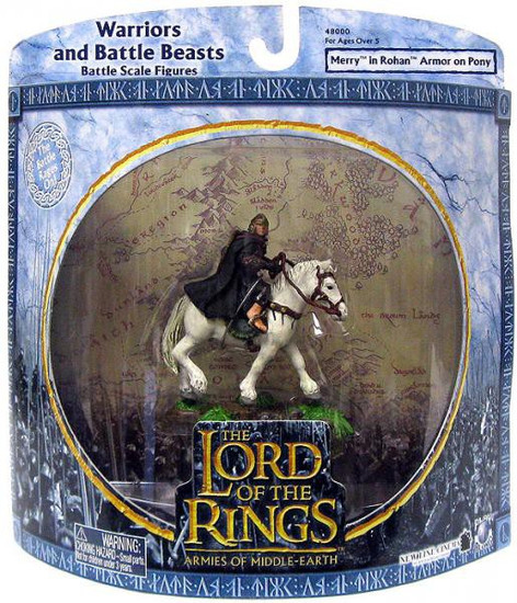 The Lord of the Rings Armies of Middle Earth Warriors and Battle Beast Merry in Rohan Armor on Pony Figure Pack