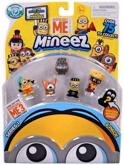 Despicable Me Minions Mineez Series 1 Surf's Up Minion, Yard Dog, Luau Kyle, Mugshot Minion & Cheese Fest Margo Mini Figure 6-Pack