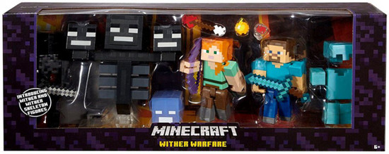 Minecraft Wither Warfare Action Figure 4-Pack [Alex, Steve, Wither Skeleton & Deluxe Wither]