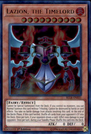 YuGiOh Battles of Legend: Light's Revenge Ultra Rare Lazion, the Timelord BLLR-EN031