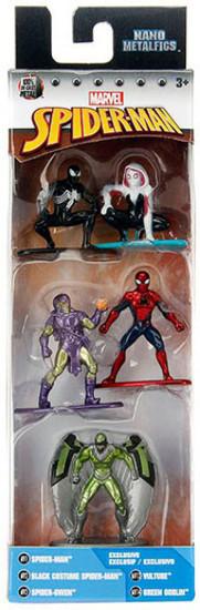 Marvel Nano Metalfigs Spider-Man, Black Costume Spider-Man, Spider-Gwen, Vulture & Green Goblin 1.5-Inch Diecast Figure 5-Pack