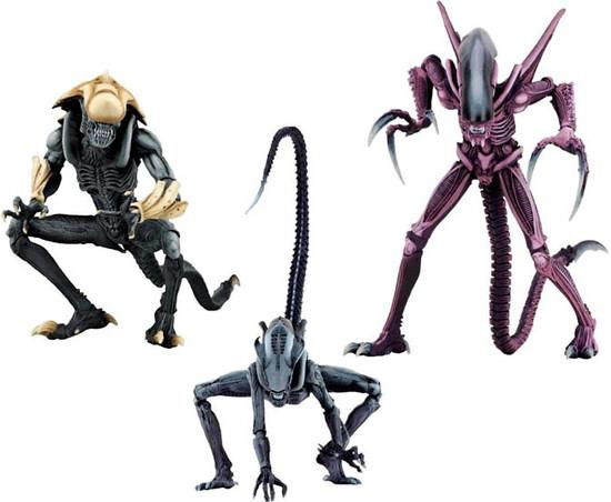 NECA Alien vs Predator Arcade Game Razor Claws, Chrysalis & Arachnoid Set of 3 Action Figures [Ultimate Bodies]