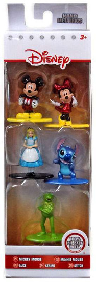 Disney Nano Metalfigs Mickey Mouse, Minnie Mouse, Alice, Stitch & Kermit 1.5-Inch Diecast Figure 5-Pack