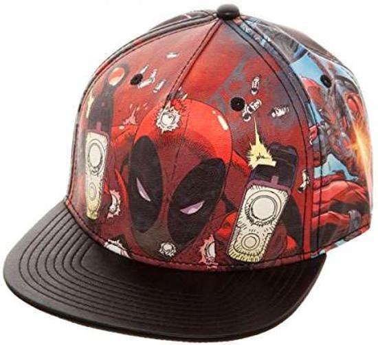 Marvel Deadpool Printed PU Snapback Cap Apparel