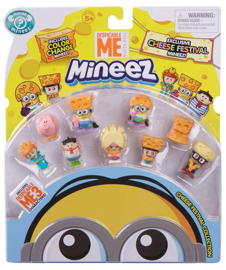 Despicable Me Minions Cheese Festival Say Cheese Agnes, Cheeze Head, Big Cheese Edith, Cheddar Head Dave, Cheese Fest Margo, Niko, Cheese Hat Jerry, Cheese Lucy & Freedonian Pig Mini Figure 9-Pack