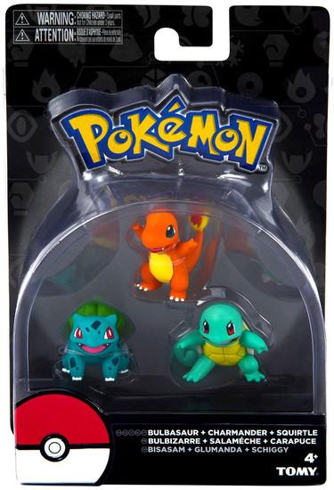 Pokemon Bulbasaur, Charmander & Squirtle 3-Inch Mini Figure 3-Pack
