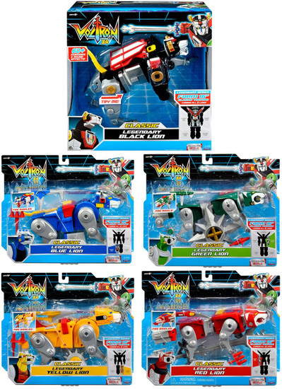 Voltron 84 CLASSIC Legendary Red, Green, Blue, Yellow & Black Set of 5 Combinable Lion Action Figures