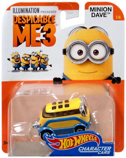 Hot Wheels Despicable Me 3 Minion Dave Diecast Character Car #1/6