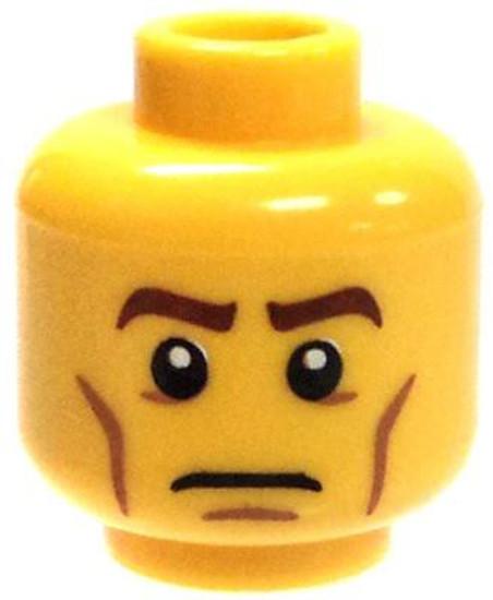 Cheeklines & Solemn Look Minifigure Head [Yellow Male Loose]