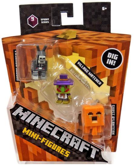 Minecraft Spooky (Halloween) Series 9 Village Watcher, Pumpkin Ghast & Robot Donkey Mini Figure 3-Pack