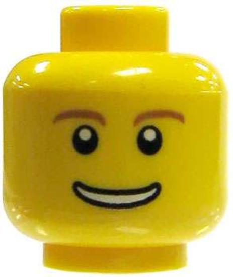 Male Wide Smile Brown Eyebrows Minifigure Head [Loose]