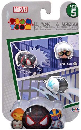 Marvel Tsum Tsum Series 5 Black Cat, Spider-Man & Electro 1-Inch Minifigure 3-Pack #150, 426 & 274