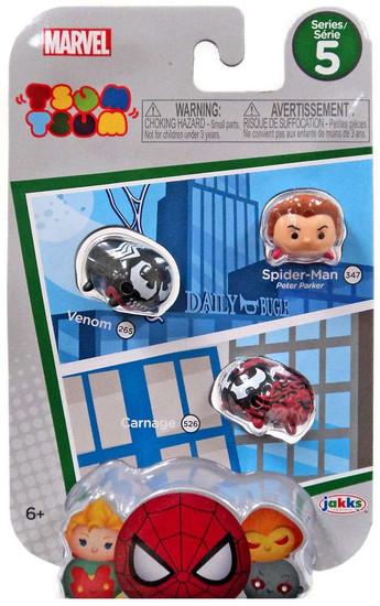 Marvel Tsum Tsum Series 5 Spider-Man, Venom & Carnage 1-Inch Minifigure 3-Pack #347, 265 & 526