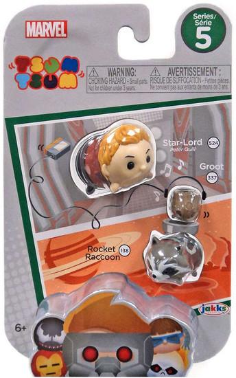 Marvel Tsum Tsum Series 5 Star-Lord, Groot & Rocket Raccoon 1-Inch Minifigure 3-Pack #524, 337 & 138