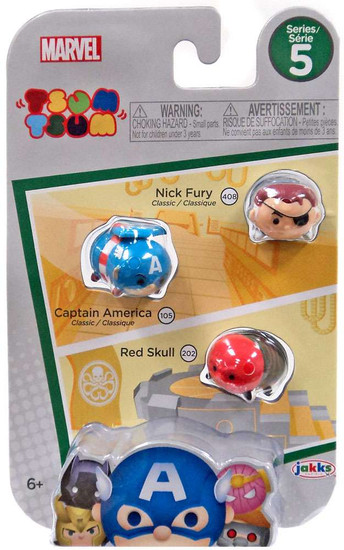 Marvel Tsum Tsum Series 5 Nick Fury, Captain America & Red Skull 1-Inch Minifigure 3-Pack #408, 105 & 202