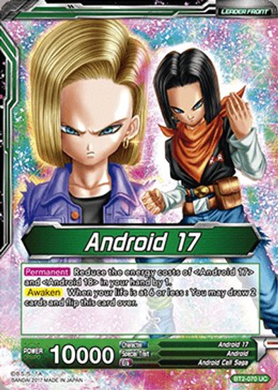 Dragon Ball Super Collectible Card Game Union Force Uncommon Android 17 / Diabolical Duo Androids 17 & 18 BT2-070
