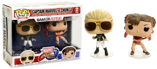 Funko Marvel Gamerverse Marvel vs Capcom: Infinite POP! Games Captain Marvel vs Chun-Li Exclusive Vinyl Figure 2-Pack [Green & White Captain Marvel, Red Chun-Li]