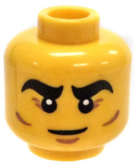 Yellow Male with Thick Eyebrows, Crows Feet and Dimples Minifigure Head [Loose]