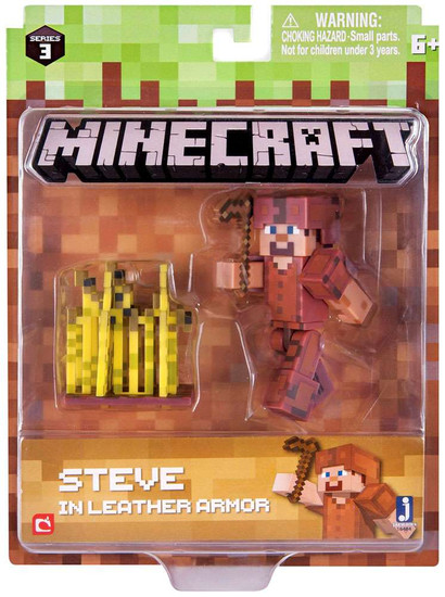 Minecraft Series 3 Steve in Leather Armor Action Figure Set
