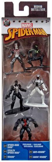 Marvel Nano Metalfigs Spider-Man 2099, Stealth Spider-Man, Venom, Anti-Venom & Agent Venom 1.5-Inch Diecast Figure 5-Pack