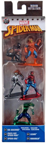 Marvel Nano Metalfigs Kid Arachnid, Proto Suit Spider-Man, Spider-Girl, Lizard & Hobgoblin 1.5-Inch Diecast Figure 5-Pack