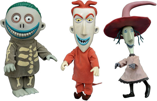 Nightmare Before Christmas Lock, Shock & Barrel 5-Inch Deluxe Cloth Doll 3-Pack