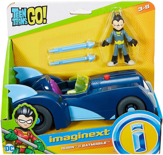 Fisher Price Teen Titans Go! Imaginext Robin & Batmobile 3-Inch Figure Set