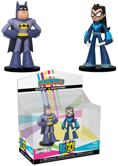 Funko DC Teen Titans Go! Hero World Series 3 Batman & Nightwing Exclusive 4-Inch Vinyl Figure 2-Pack