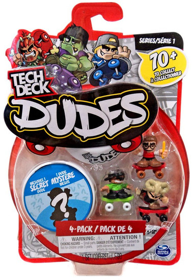 Tech Deck Dudes Series 1 Book Worm, Ollie & Bad Bone Mini Figure 4-Pack