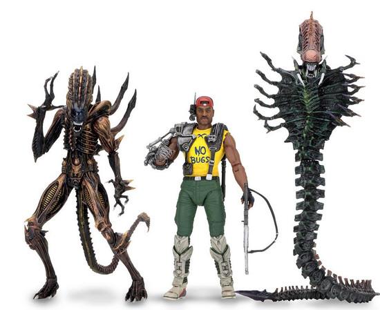 NECA Aliens Series 13 Space Marine Sgt. Apone, Snake Alien, Scorpion Alien Set of 3 Action Figures