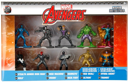 Marvel Avengers Nano Metalfigs Stealth Iron Man, Hulk, War Machine, Vision, Hawkeye, Nick Fury, Red Skull, Ultron, Hyra Agent & Thanos 1.5-Inch Diecast Figure 10-Pack