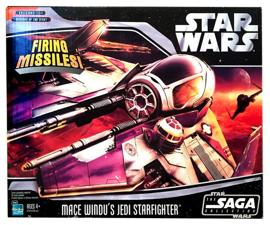 Star Wars Revenge of the Sith 2006 Saga Collection Mace Windu's Jedi Starfighter Action Figure Vehicle
