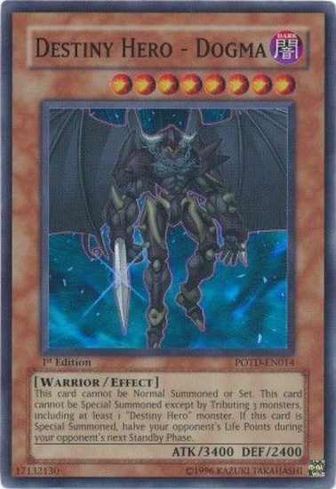 YuGiOh GX Trading Card Game Power of the Duelist Super Rare Destiny Hero - Dogma POTD-EN014