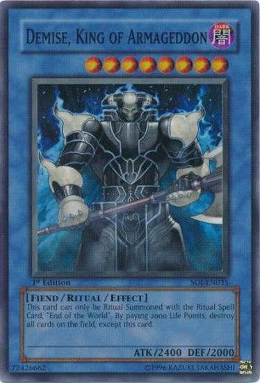 YuGiOh GX Trading Card Game Shadow of Infinity Super Rare Demise, King of Armageddon SOI-EN035